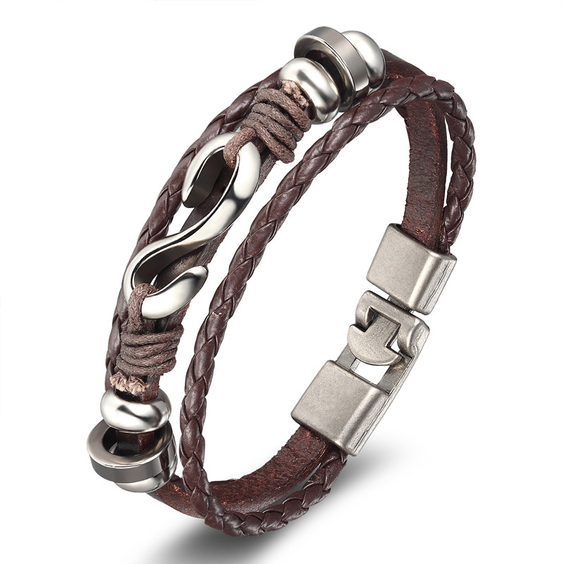 Punk Poker Star Skull Anchor Rope Leather Bracelet Leather Bracelets Mens Bracelets