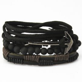 Leather Multilayer Braided Wristband Men Bead Bracelets Beaded Bracelets Leather Bracelets Mens Bracelets