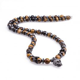 Natural Stone Skull Necklaces Beaded Hematite Mens Necklaces & Pendants