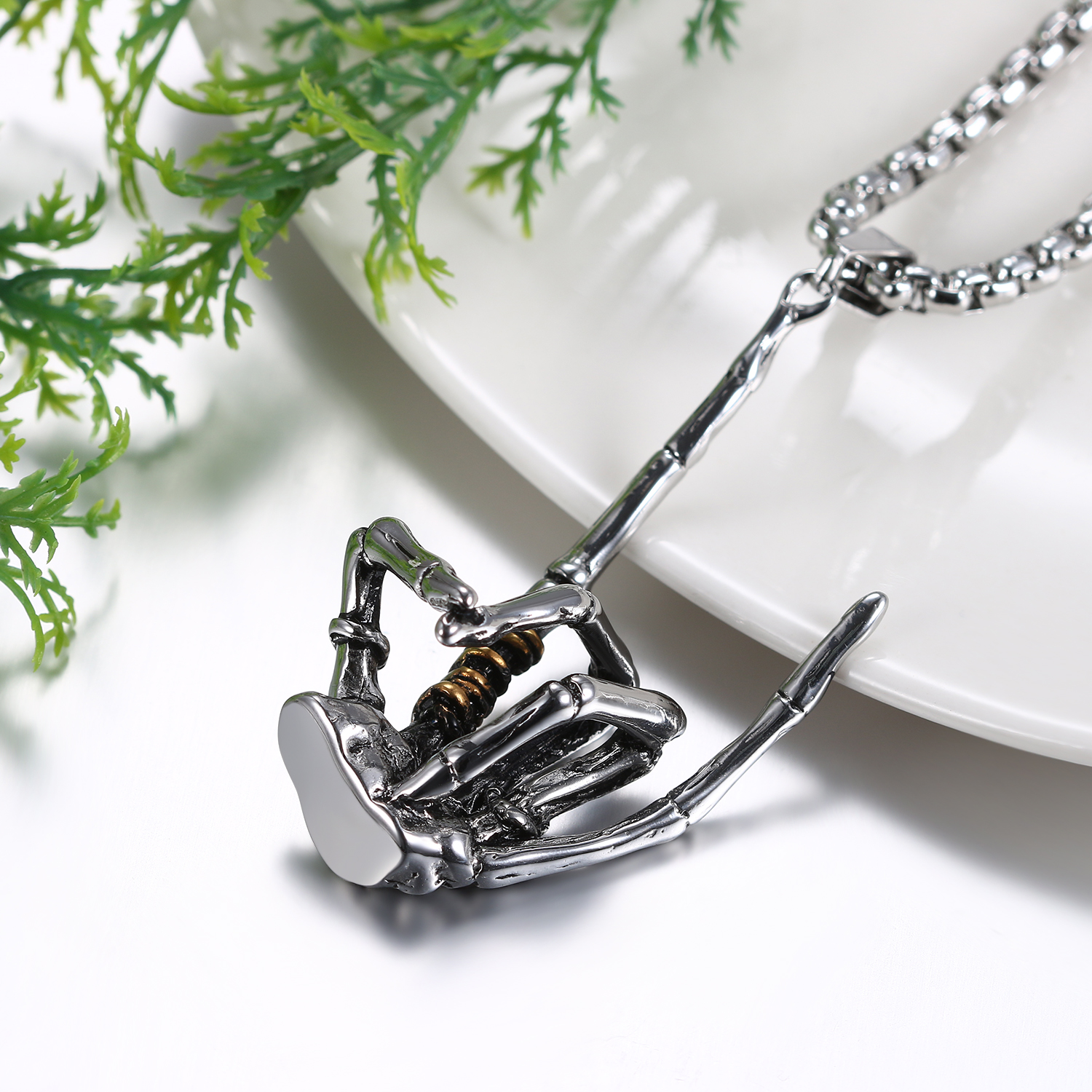 Skeleton Claw Pendant With Chain Mens Necklaces & Pendants