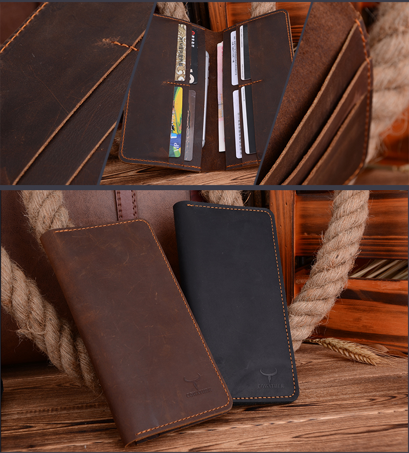 Fashion Long Genuine Leather Wallet for Men