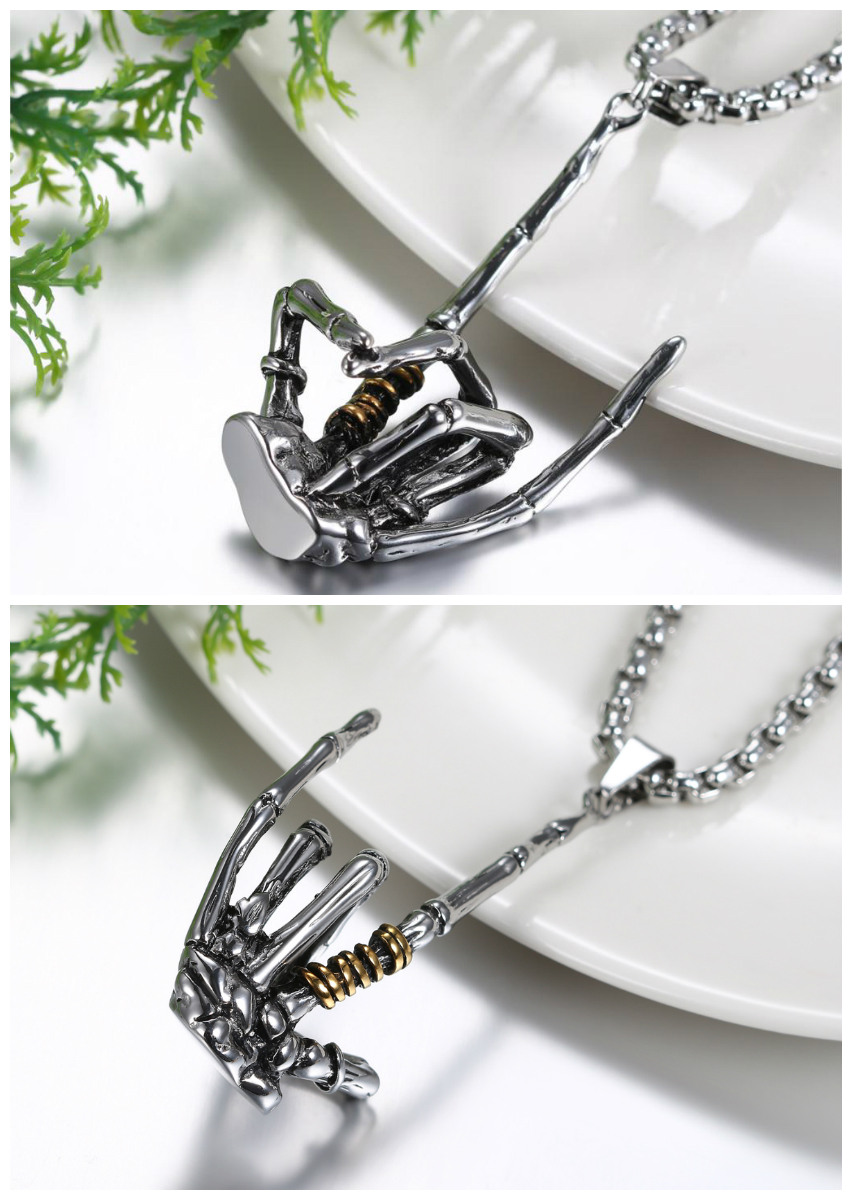 Skeleton Claw Pendant With Chain