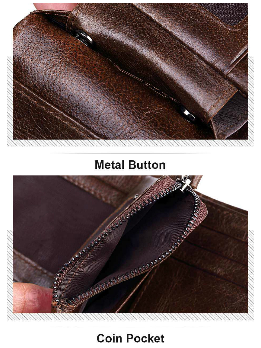 Genuine Leather Men Small Short Wallet