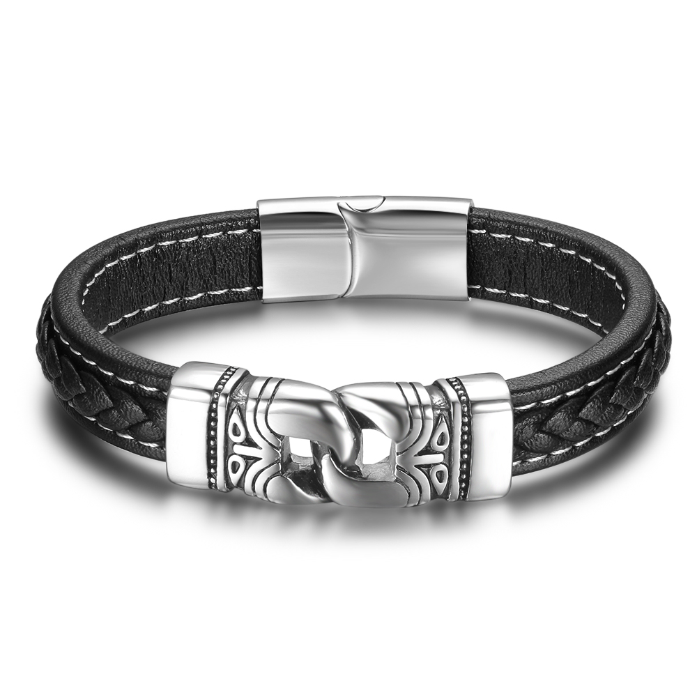 Stainless Steel Chain Male Leather Bracelet Leather Bracelets Mens Bracelets
