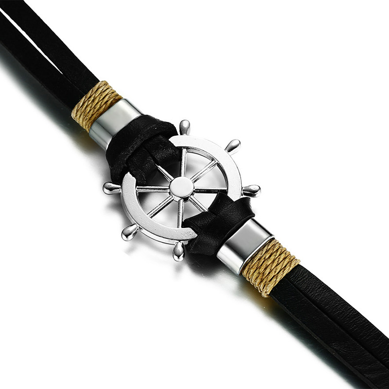Rudder Design Double Layer Leather Bracelet Leather Bracelets Mens Bracelets