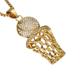 Rhinestone Basketball Pendants Necklaces Mens Necklaces & Pendants