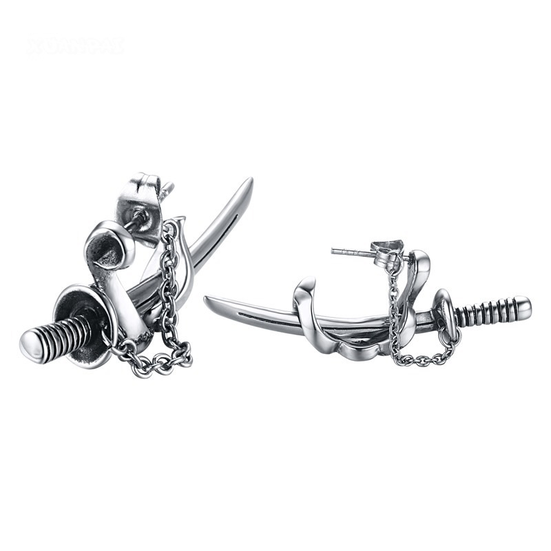 Japanese Samurai Scimitar Sword Earrings Mens Earrings