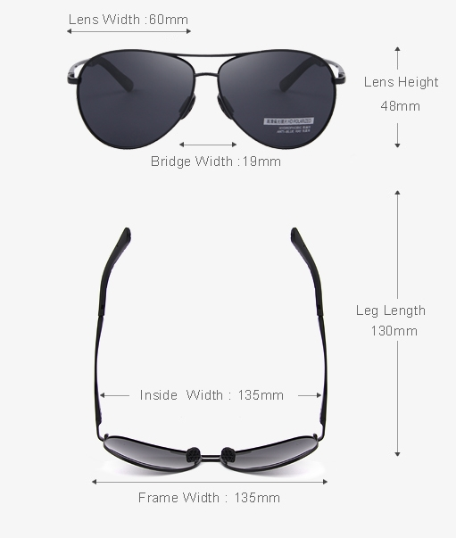 Polarized Pilot Style Aviator Sunglasses