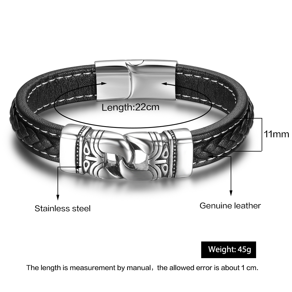 Stainless Steel Chain Male Leather Bracelet