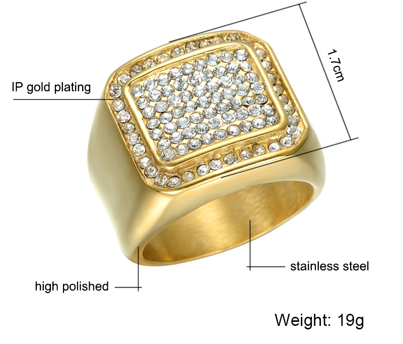 Micro Pave Rhinestone Iced Out Bling Square Ring Todayhotdeals
