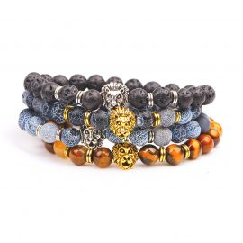 Leopard, Lion Head Natural Stone Beads Bracelets Beaded Bracelets Mens Bracelets