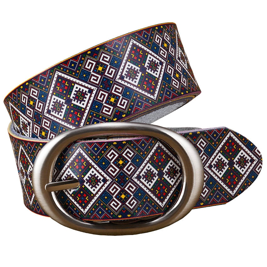 Genuine Leather Printing Plaid Wide Belts for Women Womens Belts
