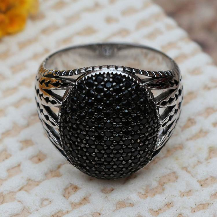 925 Sterling Silver Black CZ Stones Inlaid Ring Mens Rings Signet Rings Silver Rings