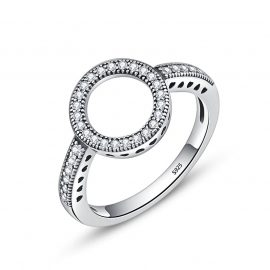 Silver Black CZ Circle Round Women Rings Women's Rings