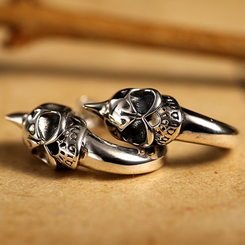 Silver Skull Stud Mens Earrings Mens Earrings