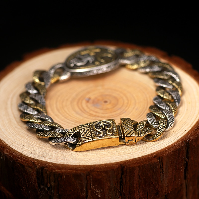 Silver Indian Stamp Vintage Bracelet Mens Bracelets