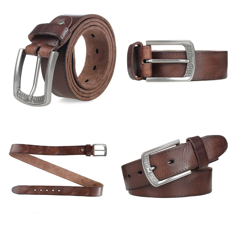Cowhide Male Belt Alloy Pin Buckle Mens Belts & Cummerbunds