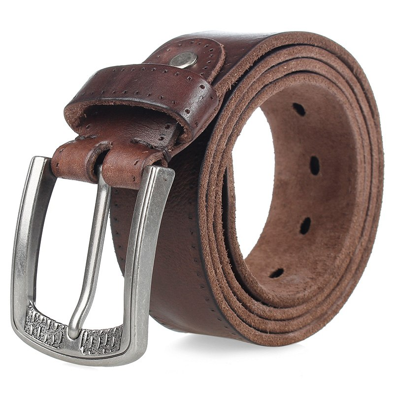 Cowhide Male Belt Alloy Pin Buckle Mens Belts & Cummerbunds Color: Coffee Length: 110cm