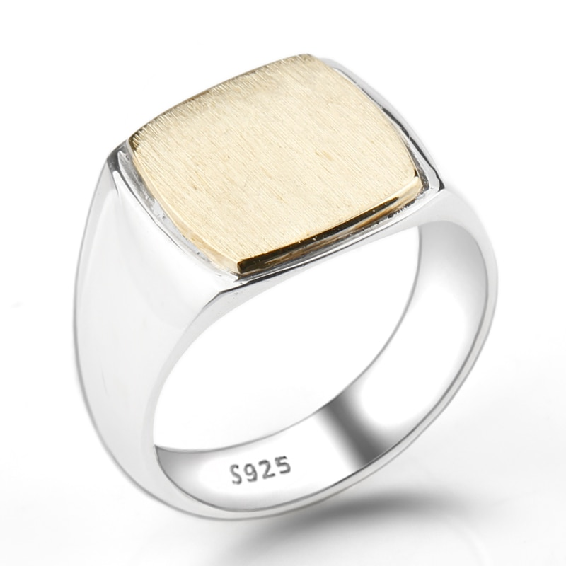 Silver Simple Square Brushed Ring Surface Mens Rings Signet Rings Silver Rings