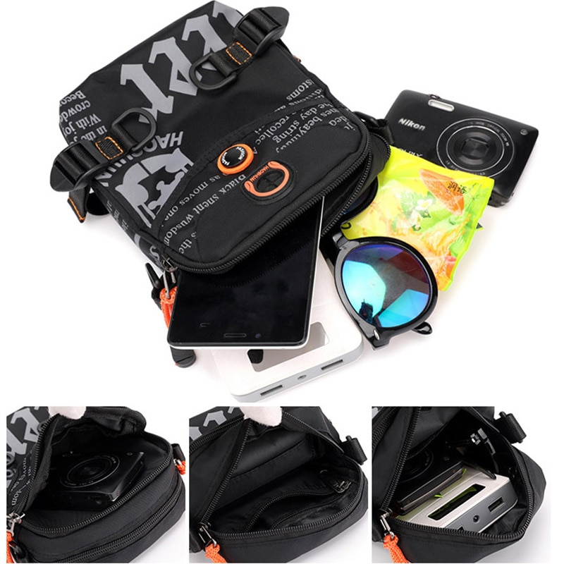 Waterproof Nylon Graffiti Crossbody Bags Mens Crossbody Bags