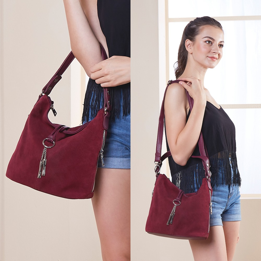 Suede Casual Split Leather Shoulder Bag Women's Shoulder Bags