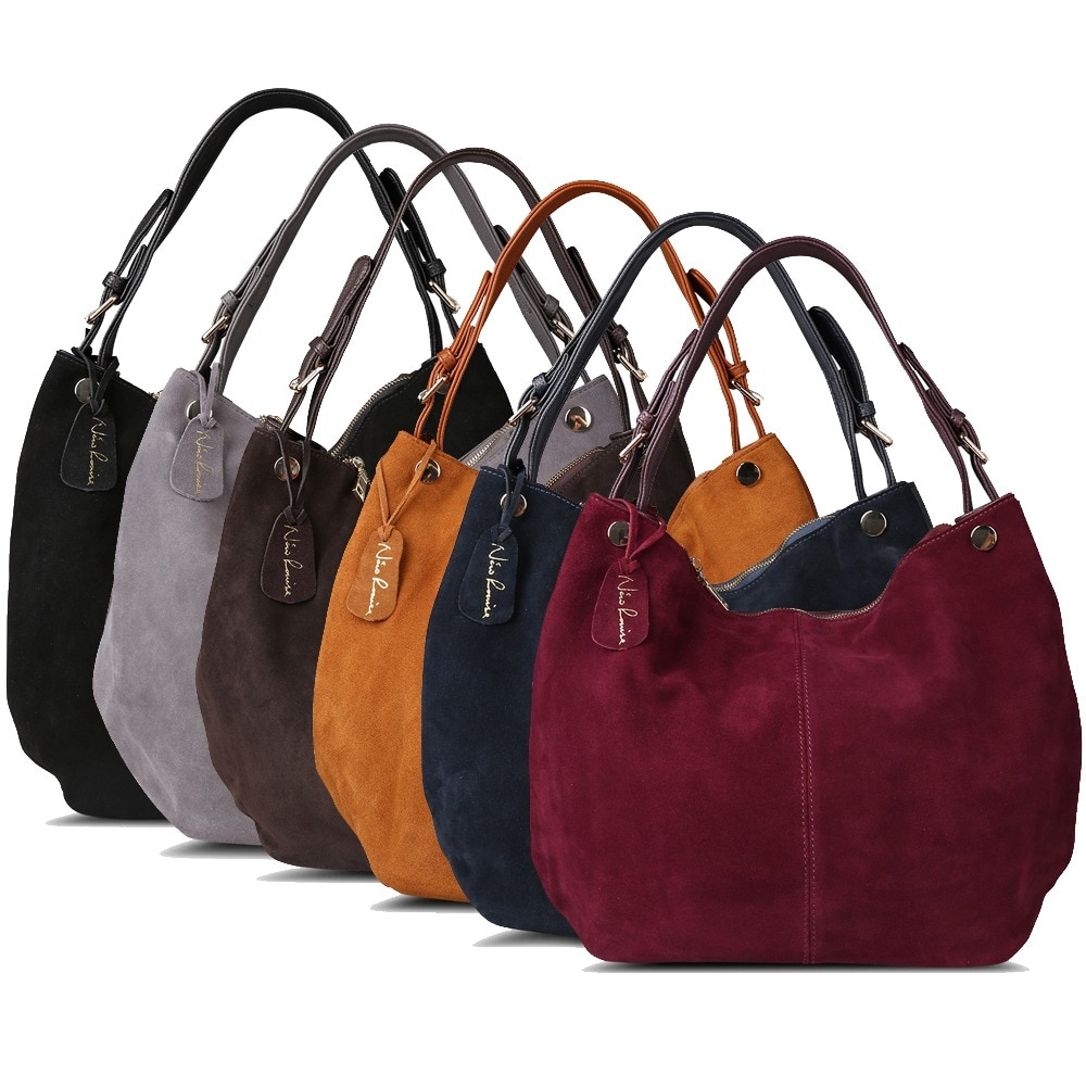 Real Split Suede Leather Casual Shoulder Bags Women's Shoulder Bags