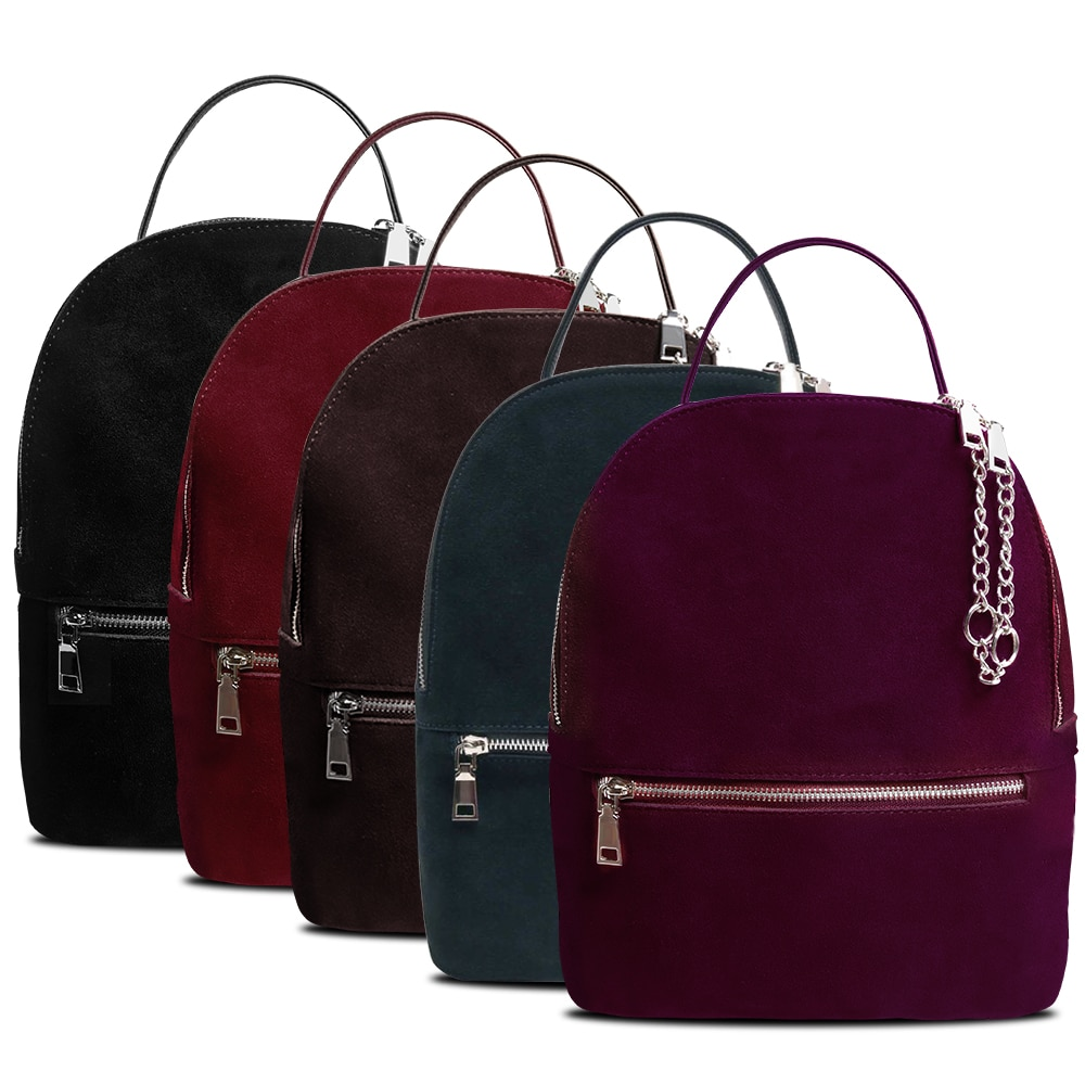 Genuine Suede Travel Leather Backpack Women's Backpacks