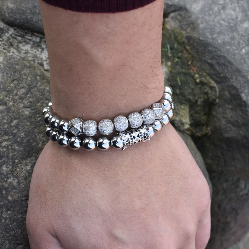 Stainless Steel Beads Charms Bracelets Beaded Bracelets Mens Bracelets Steel Bracelets