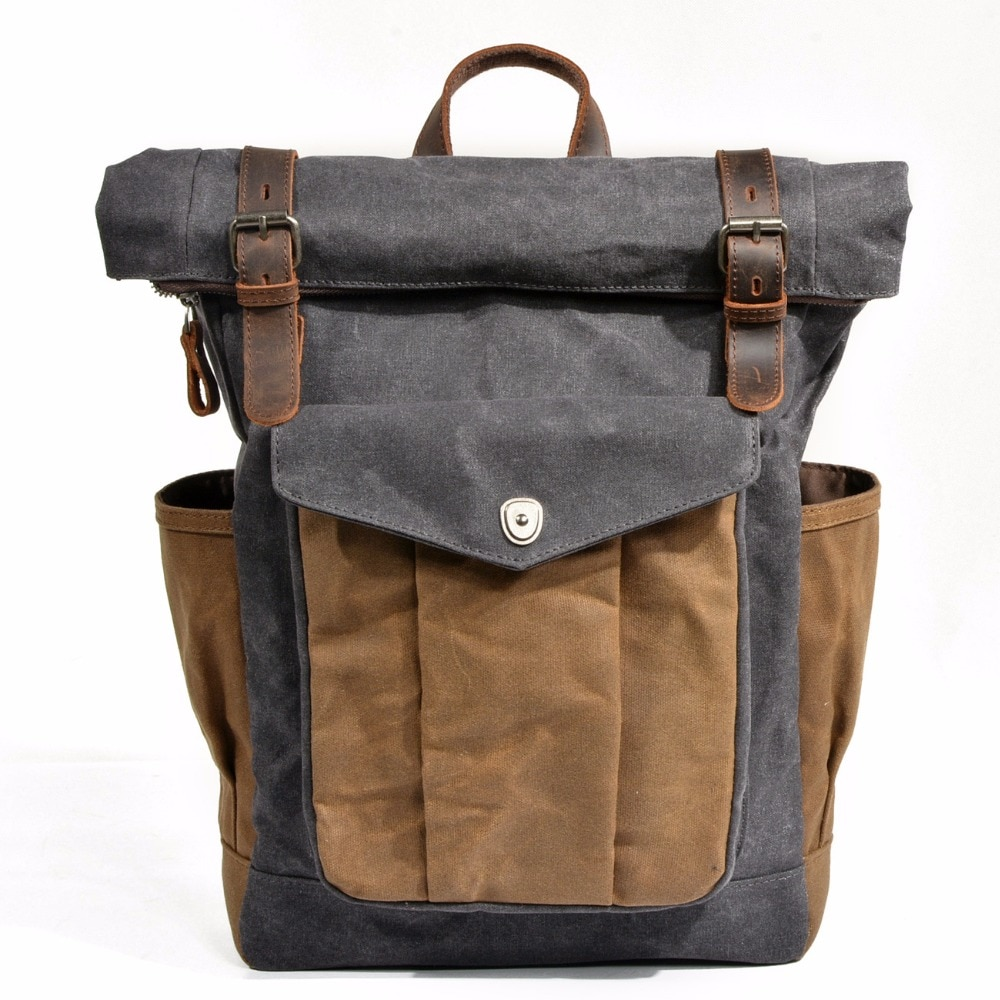 Vintage Oil Waxed Canvas Leather Backpack Mens Backpacks