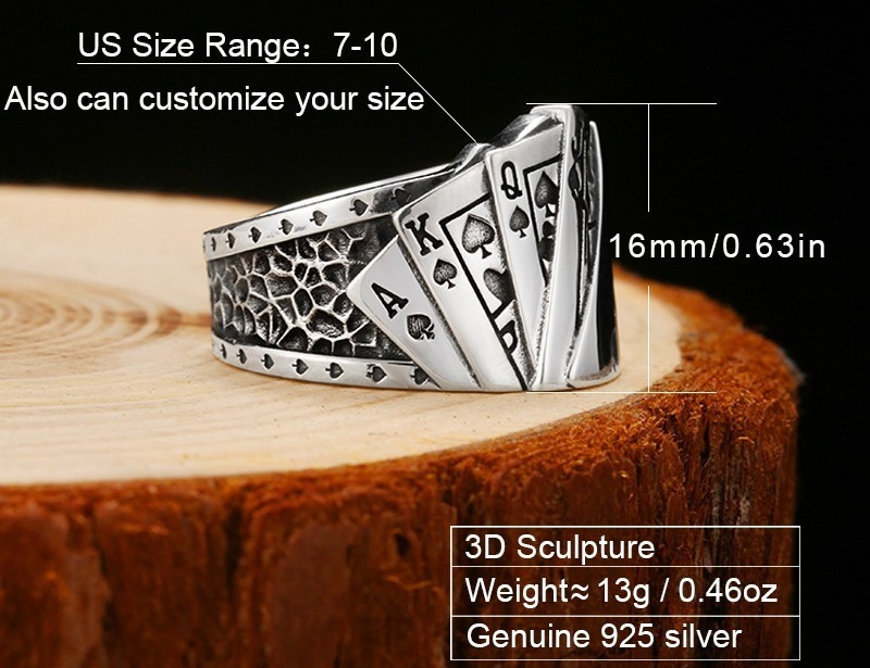 Poker Ring Solid 925 Silver