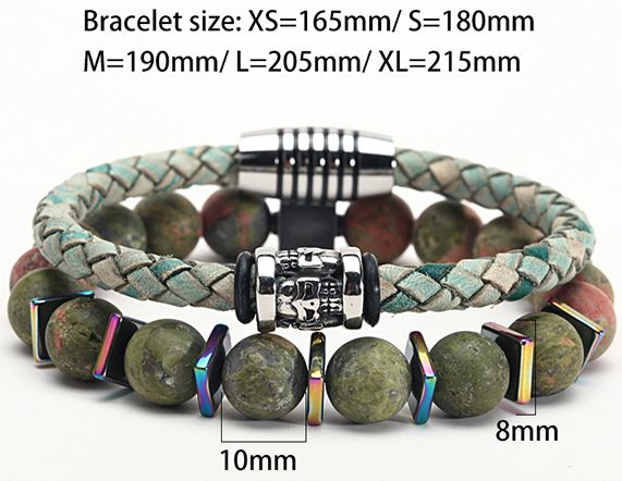Couple Leather Stone Beads Bracelets