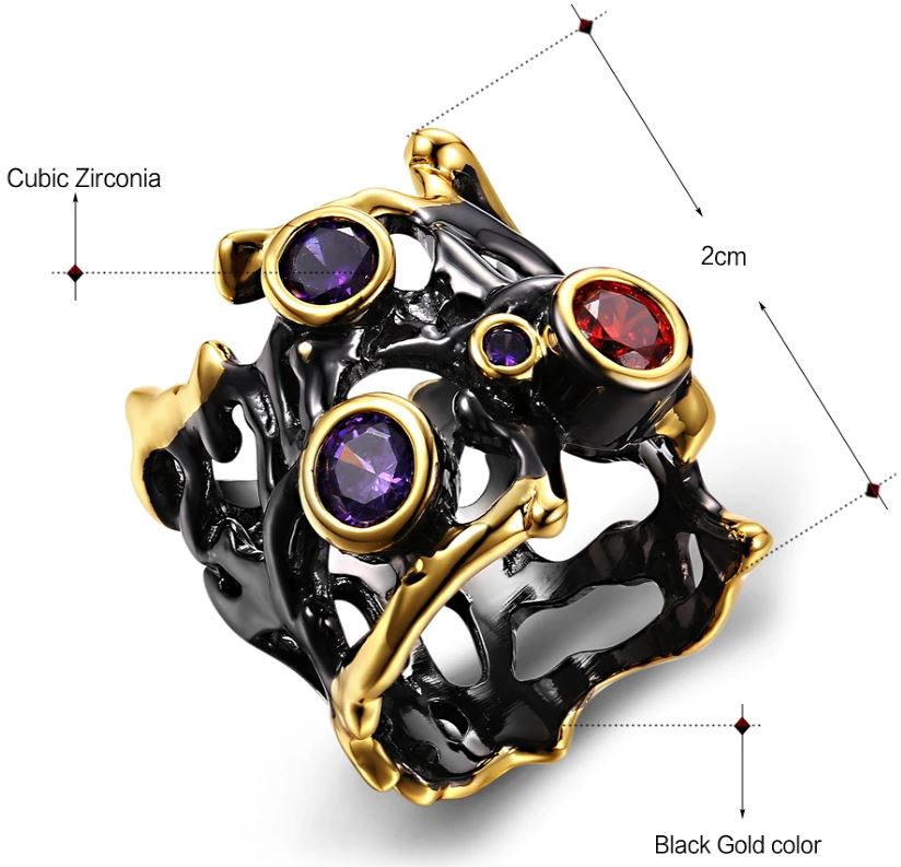Purple Red CZ Black Gold Hollow Ring