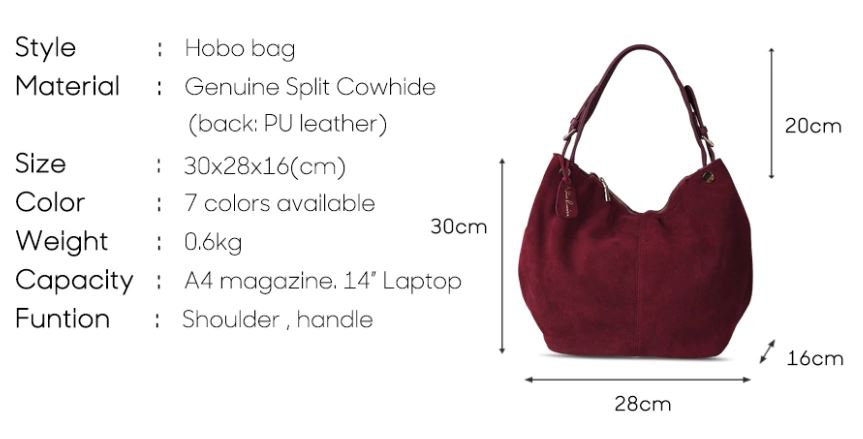 Real Split Suede Leather Casual Shoulder Bags