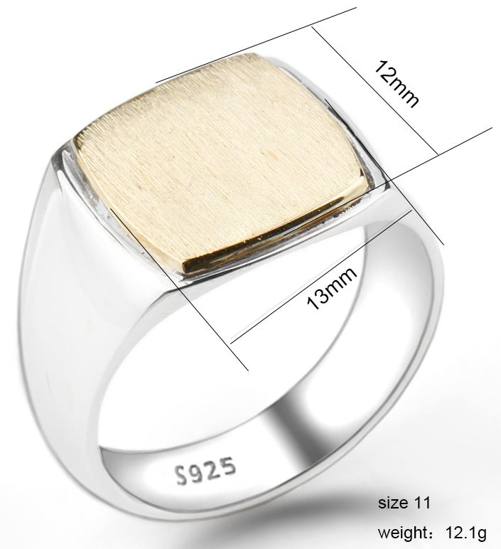 Silver Simple Square Brushed Ring Surface