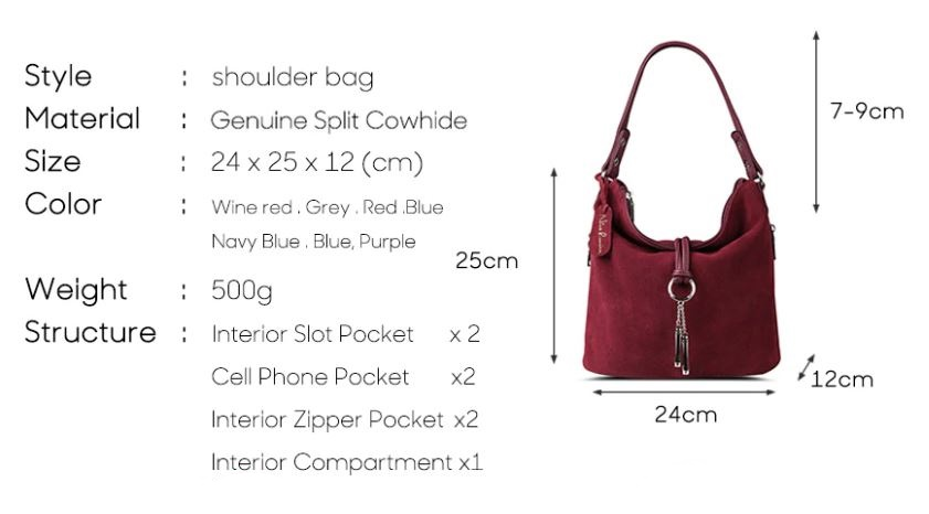 Suede Casual Split Leather Shoulder Bag