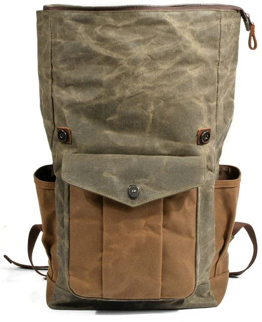 Vintage Oil Waxed Canvas Leather Backpack