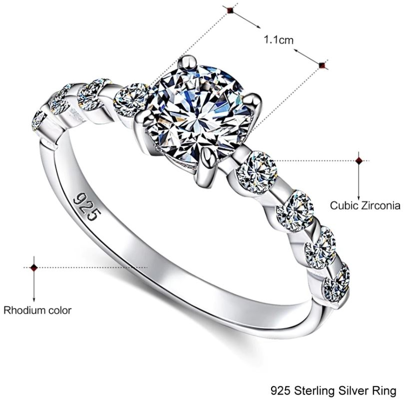 White Cubic Zircon Silver Ring