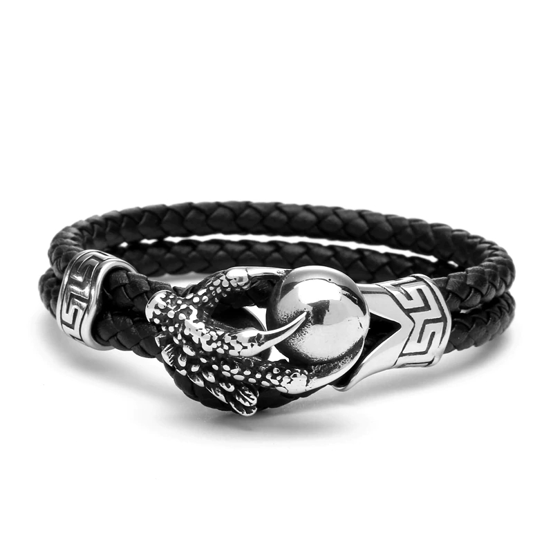 Steel Eagle Claws Genuine Leather Bracelet Leather Bracelets Mens Bracelets