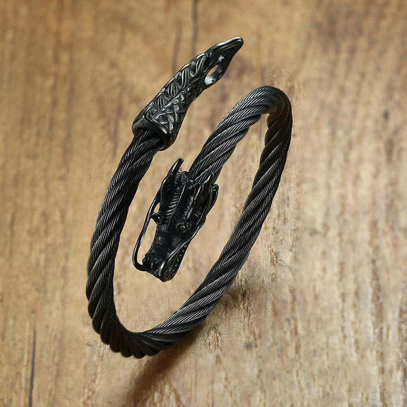 Twisted Cable Dragon Cuff Bracelet Mens Bracelets Steel Bracelets