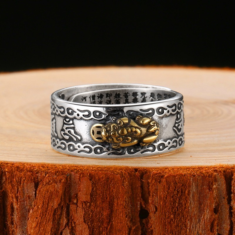 Buddhist Heart Sutra Vajra Brave Troops Silver Ring Mens Rings Silver Rings