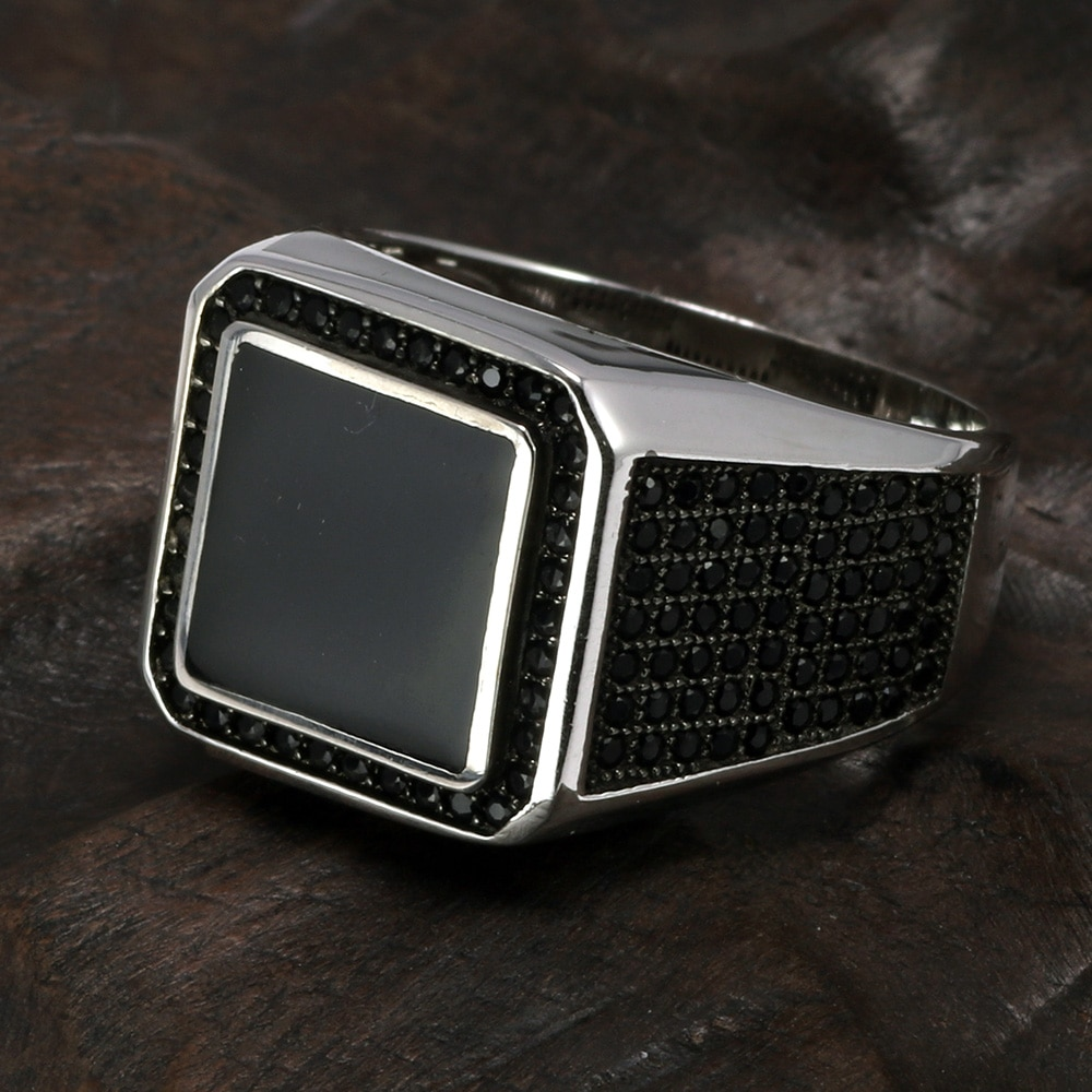 Silver Ring With Square Stone Mens Rings Signet Rings Silver Rings