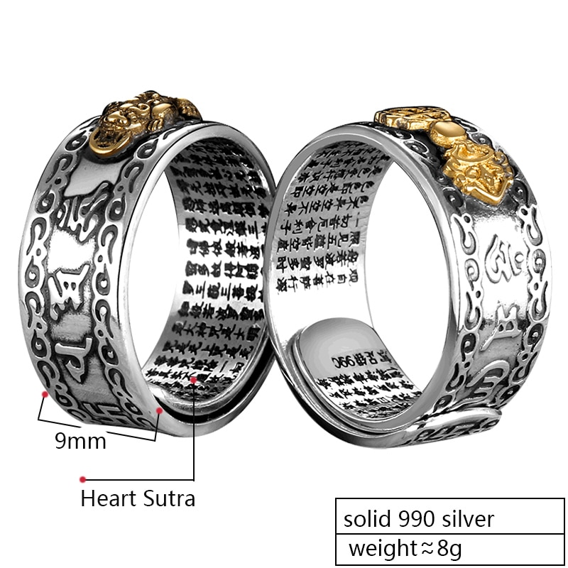 Buddhist Heart Sutra Vajra Brave Troops Silver Ring