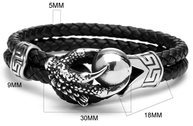 Steel Eagle Claws Genuine Leather Bracelet