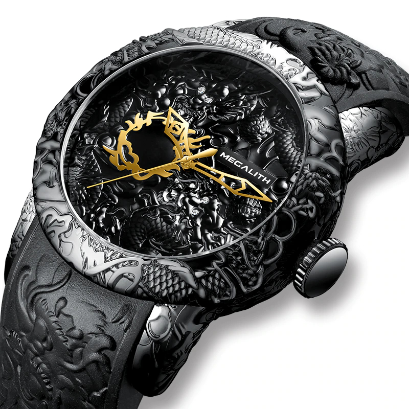 Fashion Gold Dragon Sculpture Quartz Watch Mens Quartz Watches