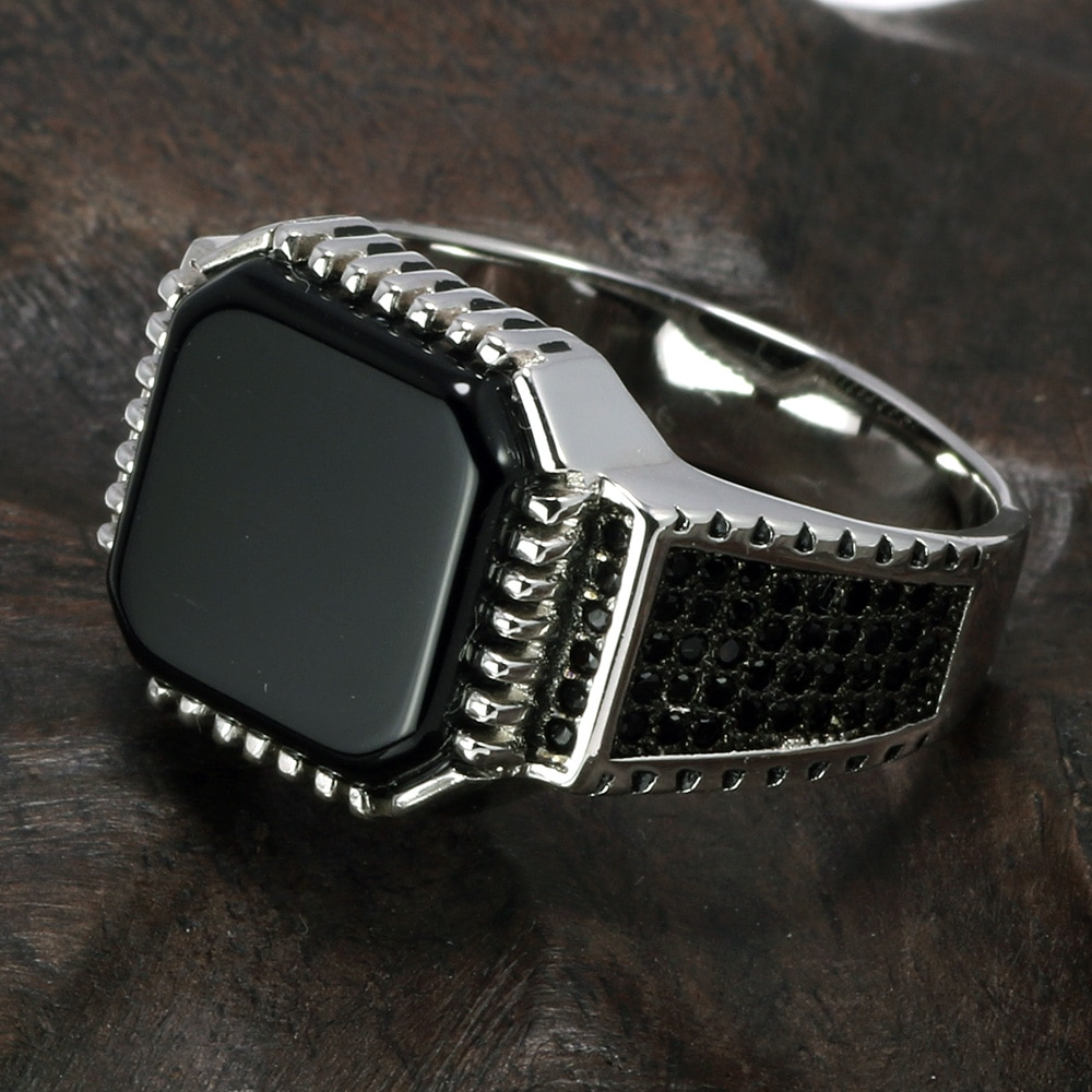 Silver Ring With Square Onyx Mens Rings Signet Rings Silver Rings