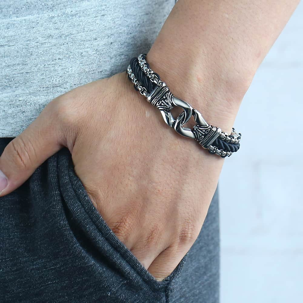 Leather Strand Stainless Steel Knot Bracelet Leather Bracelets Mens Bracelets Steel Bracelets