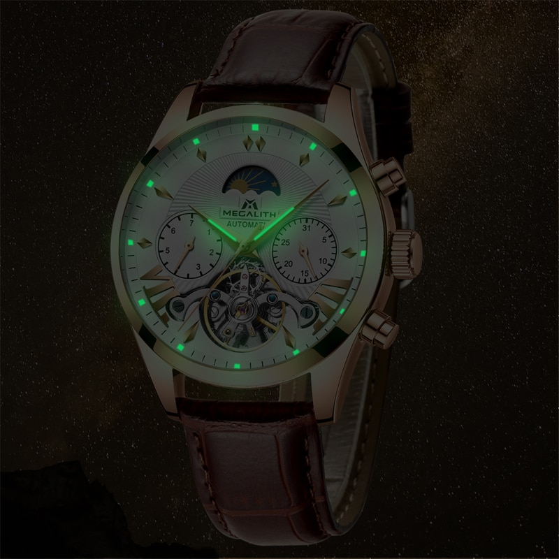 Fashion Automatic Self-Wind Mechanical Wristwatches Mens Mechanical Watches