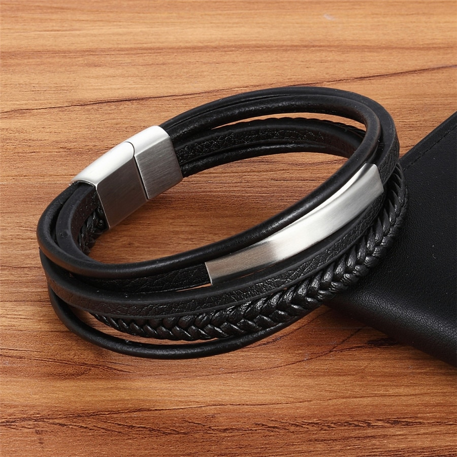 Genuine Leather Charm Multilayer Bracelets Leather Bracelets Mens Bracelets
