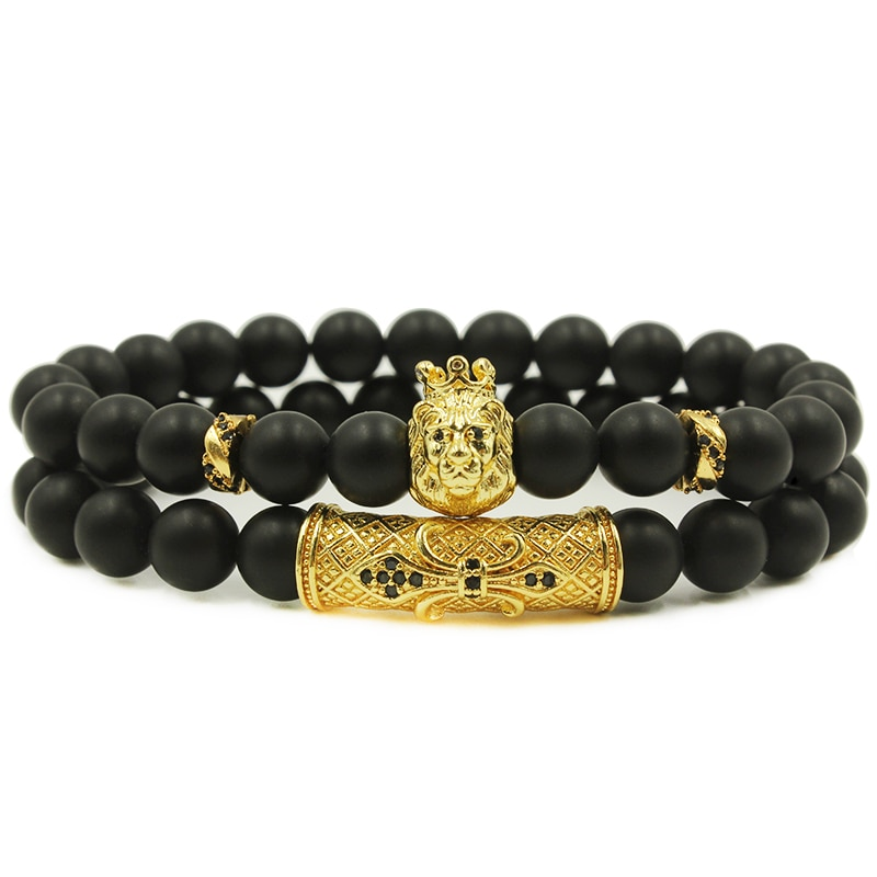 Natural Stone Charm Lion Bracelets Beaded Bracelets Mens Bracelets