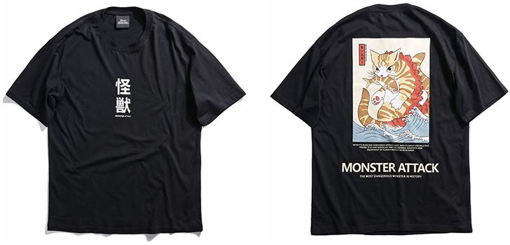 Harajuku Japan Monster Cat T-Shirts Mens T-Shirts
